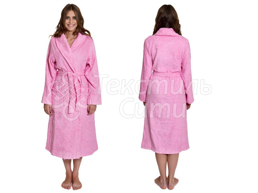 Халат женский розовый махра