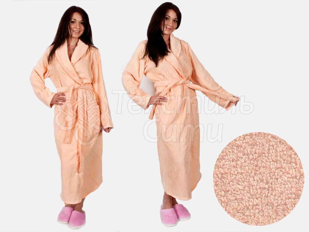 Халат махровый цвет персик